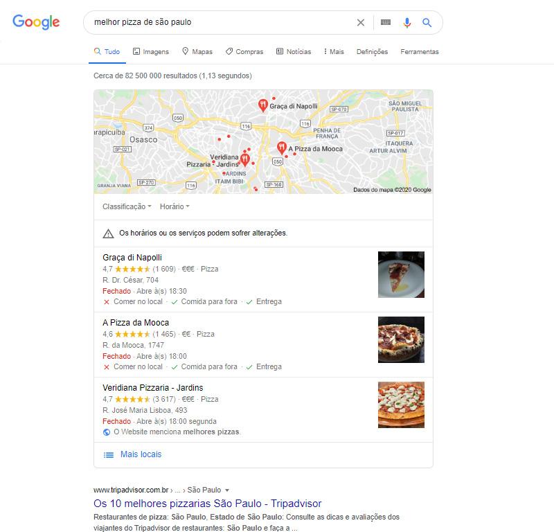 SERP - melhor pizza de São Paulo
