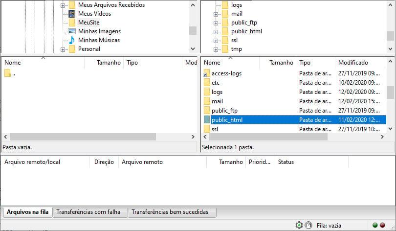 Backup do site usando o Filezilla