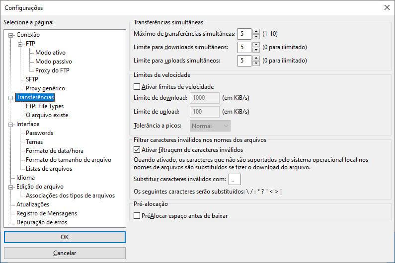 Configurações de transferências no Filezilla