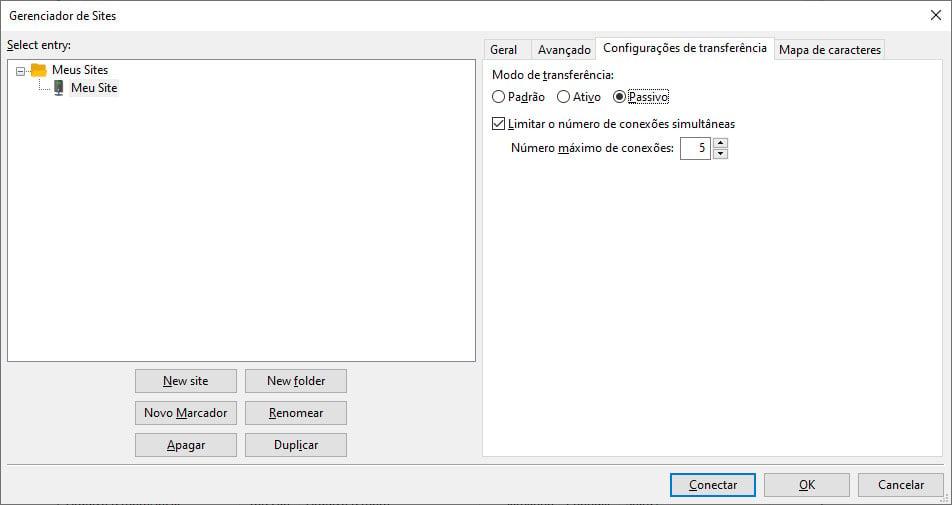 Configurações de transferência no Filezilla