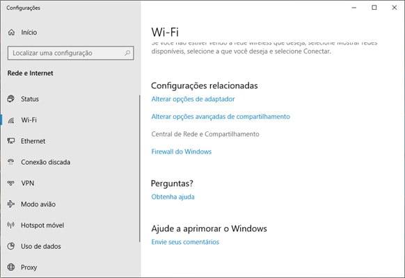 Configurações de Wi-Fi