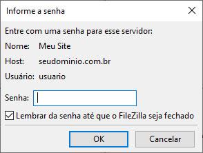 Informação de senha no Filezilla