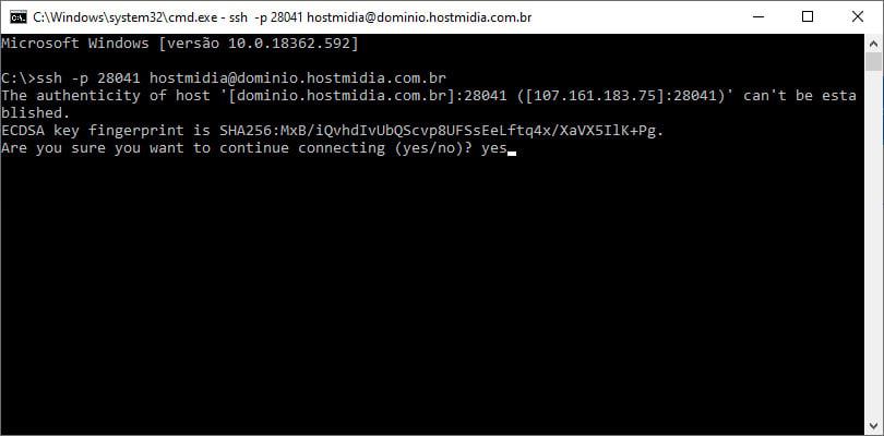 SSH através do prompt do Windows 10