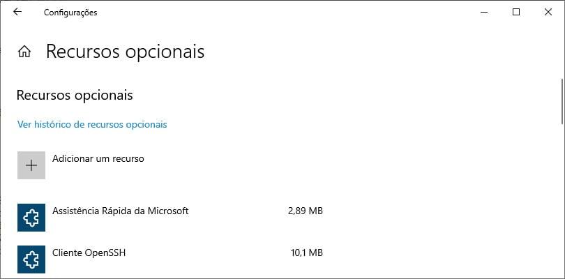 Recursos opcionais do Windows 10