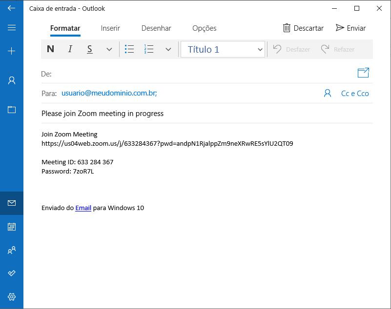 Zoom convite e-mail